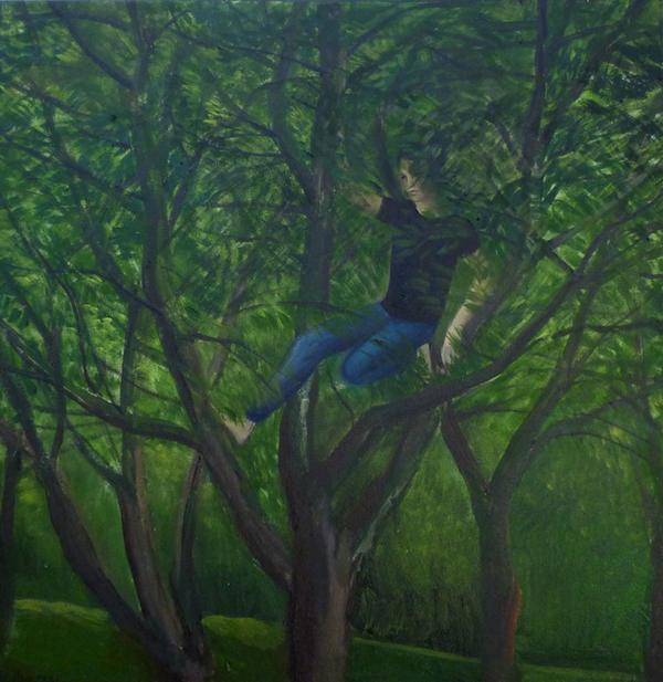 """Katarzyna Karpowicz - """"Sad"""", olej/płótno, 40 x 40 cm"""