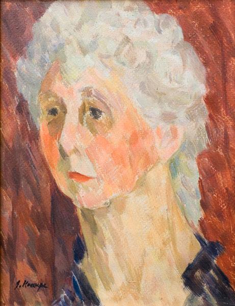 """Janina Kraupe-Świderska - """"Portret modelki"""", ol/tekt.,32x25, sygn.l.d.-lata 50-te"""
