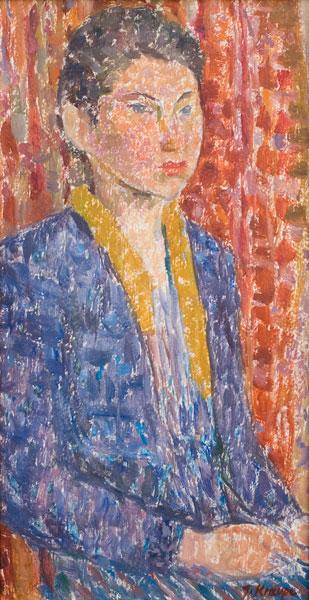 "Janina Kraupe-Świderska - ""Portret Ewy Fajkosz"", ol/tekt.,48x26, sygn.p.d., lata 50-te"
