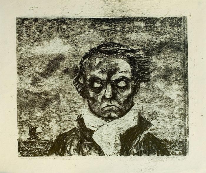 """Janina Kraupe Świderska - """"Beethoven"""",monotypia,33x41, lata 50-te"""