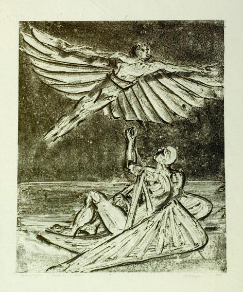 """Janina Kraupe Świderska - """"Dedal i Ikar"""", monotypia,40x33, 1954 r."""