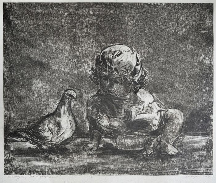 """Janina Kraupe Świderska - """"Iwo z gołębiem II"""", monot./bibuła,32x40, 1954 r."""