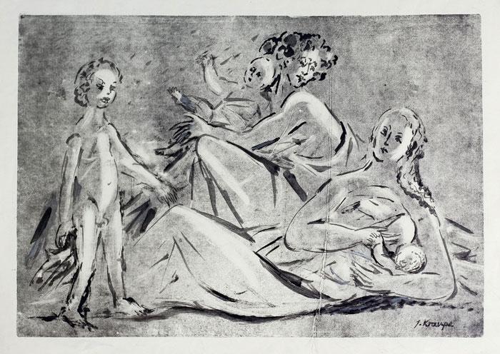 """Janina Kraupe Świderska - Z cyklu """"Rodzinka"""", monotypia, 1955 r."""