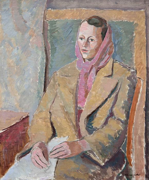 """Adam Marczyński - """"Portret kobiety"""", ol/pł., 78x64, sygn.p.d."""