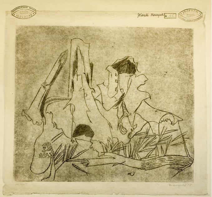 """Adam Marczyński - """"W lesie"""", monotypia/bibuła,1955 r."""