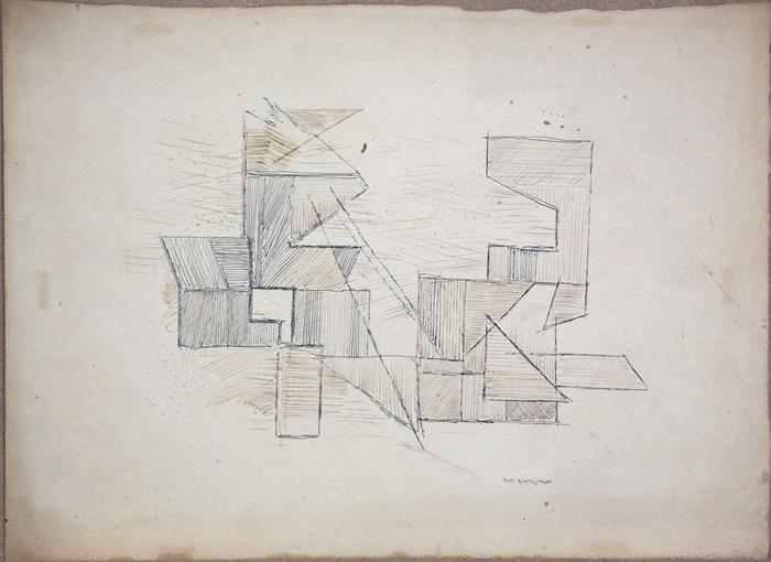 """Adam Marczyński - """"Kompozycja geometryczna"""", rys./pap., 33x47"""
