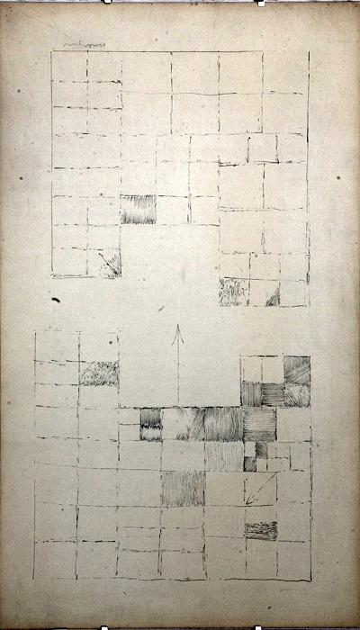 """Adam Marczyński - """"Kompozycja geometryczna ze strzałką"""", rys./pap.,50x30"""