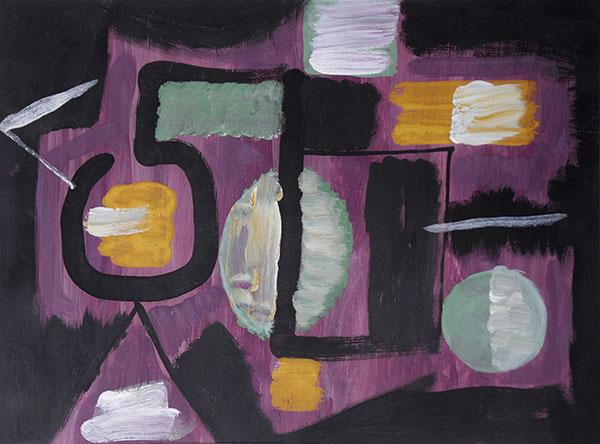 """Janusz Orbitowski - """"Abstrakcja"""", akr./pap., 30x42,2, 1966 r."""