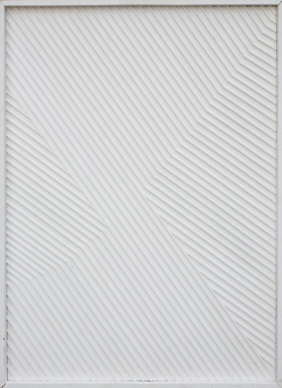"""Janusz Orbitowski - """"6/05"""", 2015 - tech.własna,relief,akryl/płótno, 70 x 50 cm ;"""