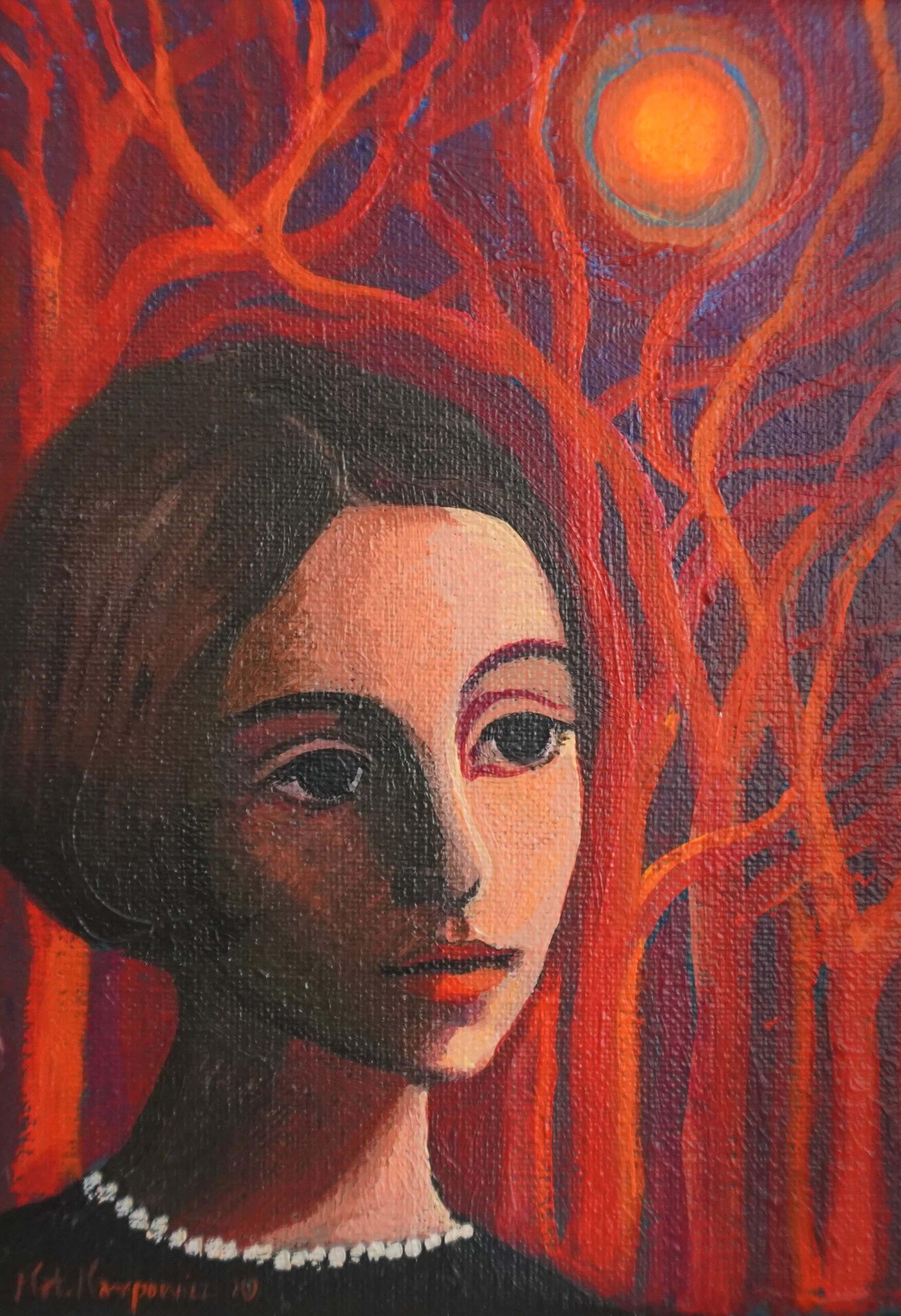 """Katarzyna Karpowicz - """"Czerwone drzewa"""", akryl/płótno, 18 x 13 cm, 2020"""