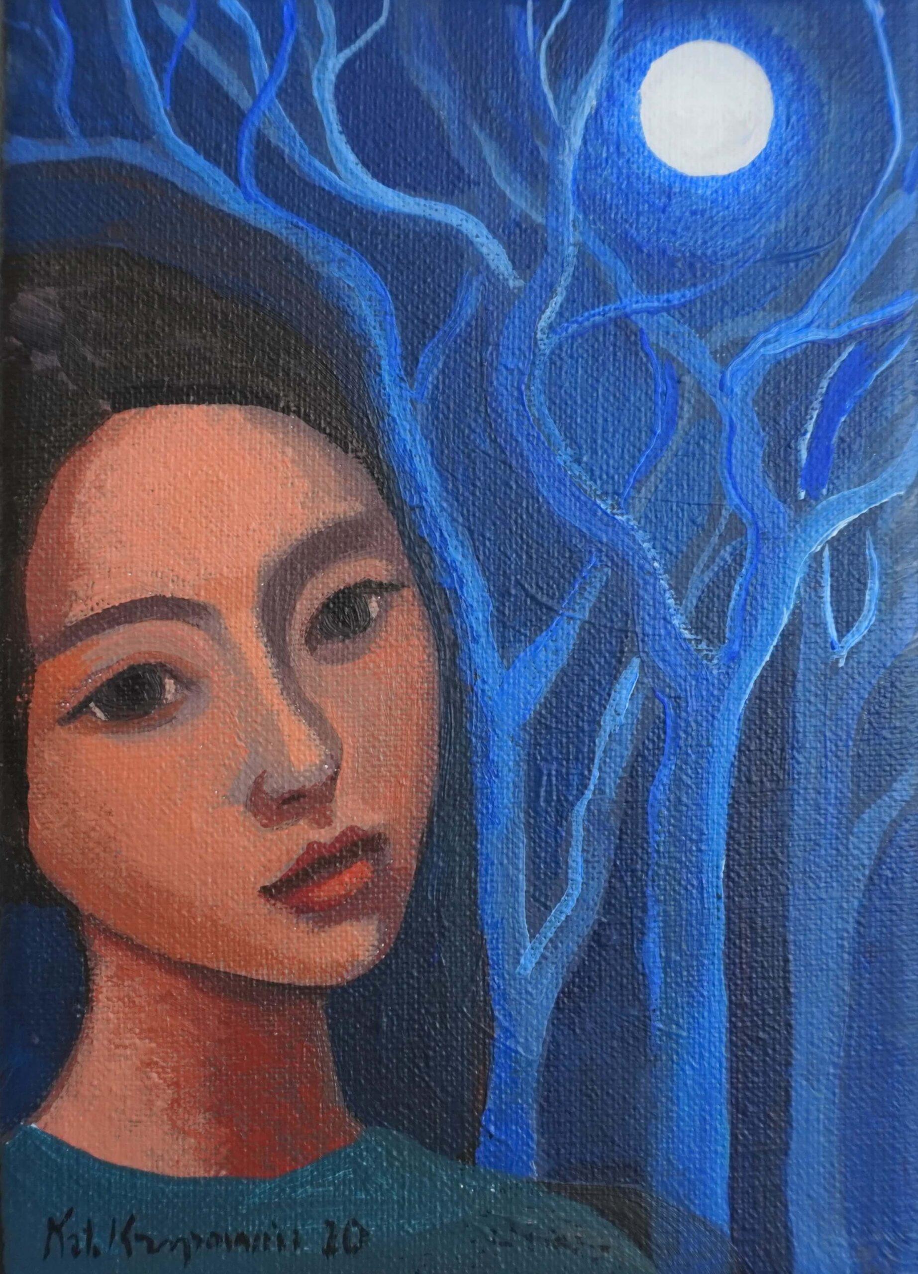 """Katarzyna Karpowicz - """"Niebieskie drzewa"""", olej/płótno, 18 x 13 cm, 2020"""