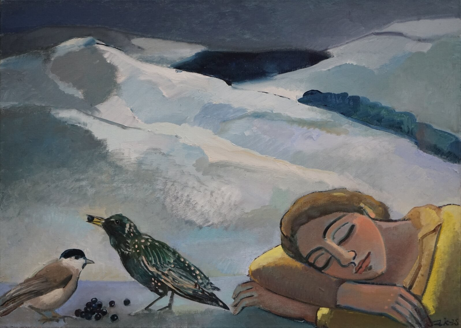 """Anna Karpowicz-Westner - """"Śpiąca z ptaszkami"""", 2020, olej/płótno/ 50x70"""