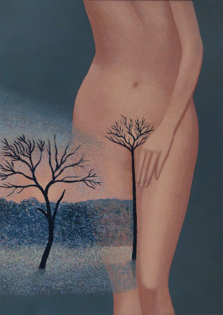 Jerzy Tyburski, W lesie, olej na płótnie, 70x50 cm, 2020.