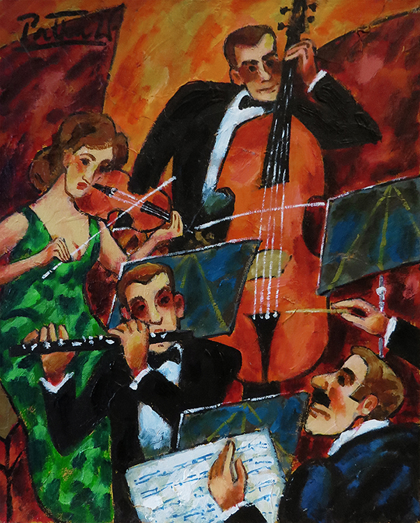 """Witold Pałka, """"Trio z dyrygentem"""", ol/pł, 50x40 cm"""